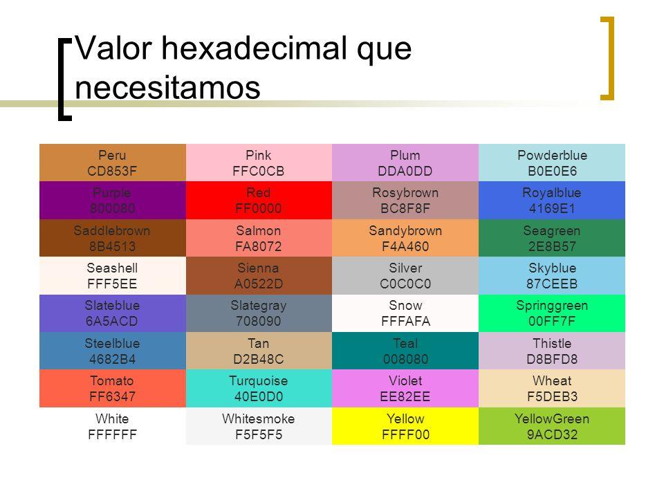 Valor hexadecimal que necesitamos