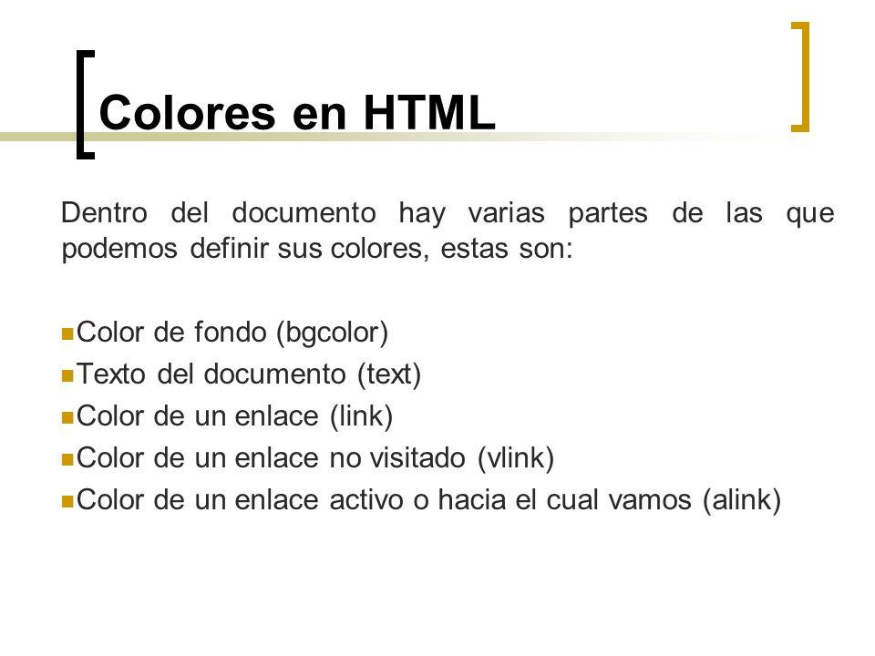 Colores en HTML Dentro del documento hay varias partes de las que podemos definir sus colores, estas son: