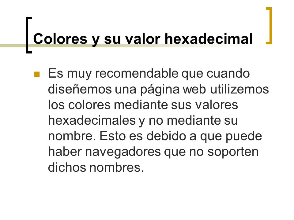 Colores y su valor hexadecimal