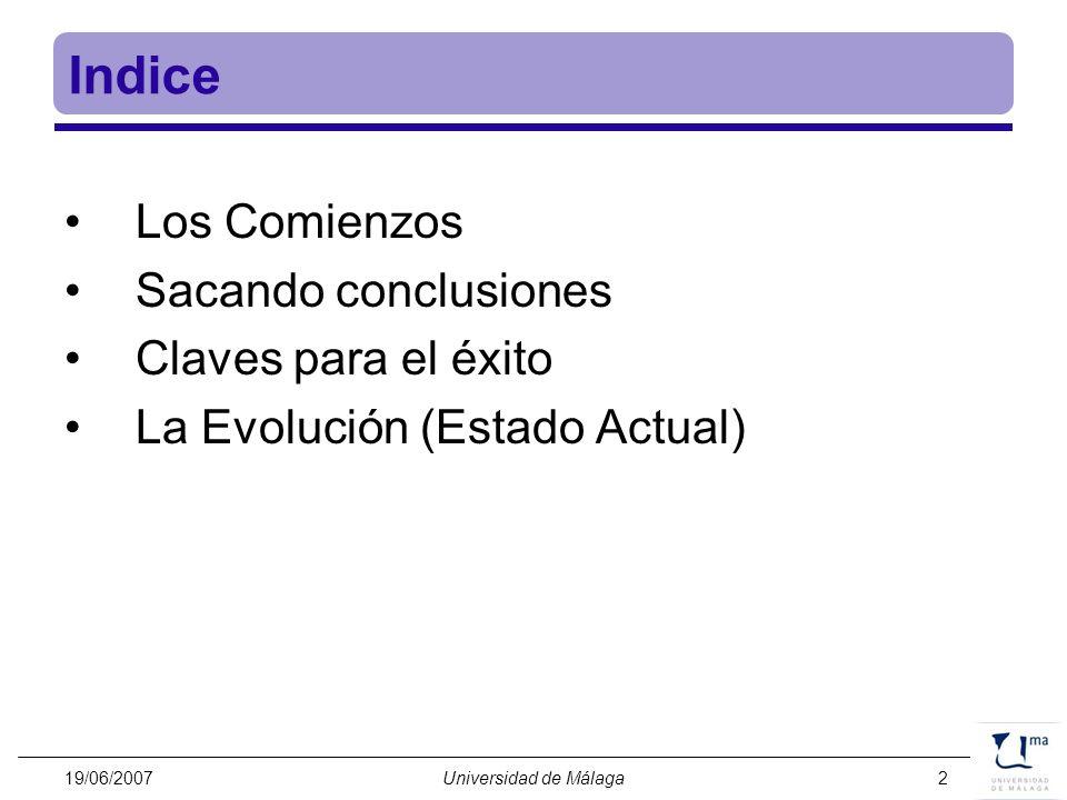 Indice Los Comienzos Sacando conclusiones Claves para el éxito