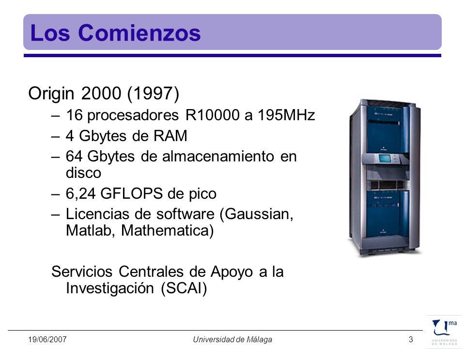 Los Comienzos Origin 2000 (1997) 16 procesadores R10000 a 195MHz