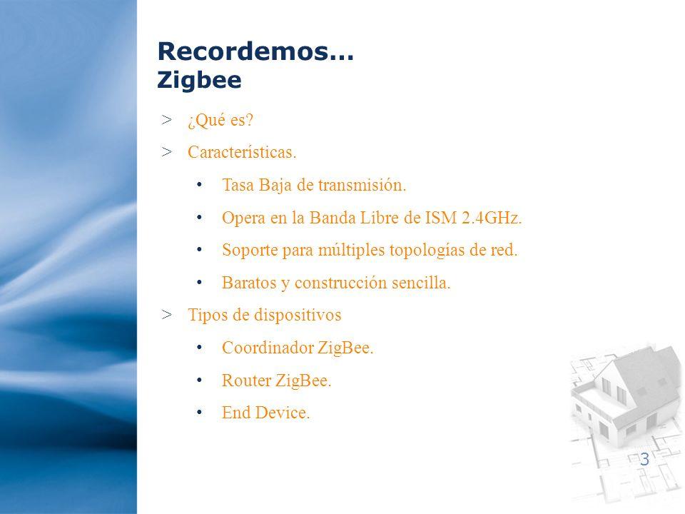 Recordemos… Zigbee ¿Qué es Características. Tasa Baja de transmisión.