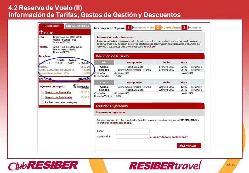4.2 Reserva de Vuelo (II) Información de Tarifas, Gastos de Gestión y Descuentos