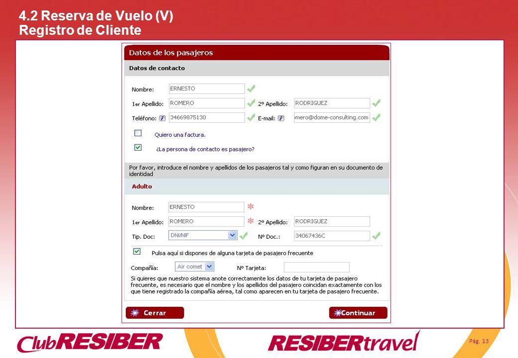 4.2 Reserva de Vuelo (V) Registro de Cliente