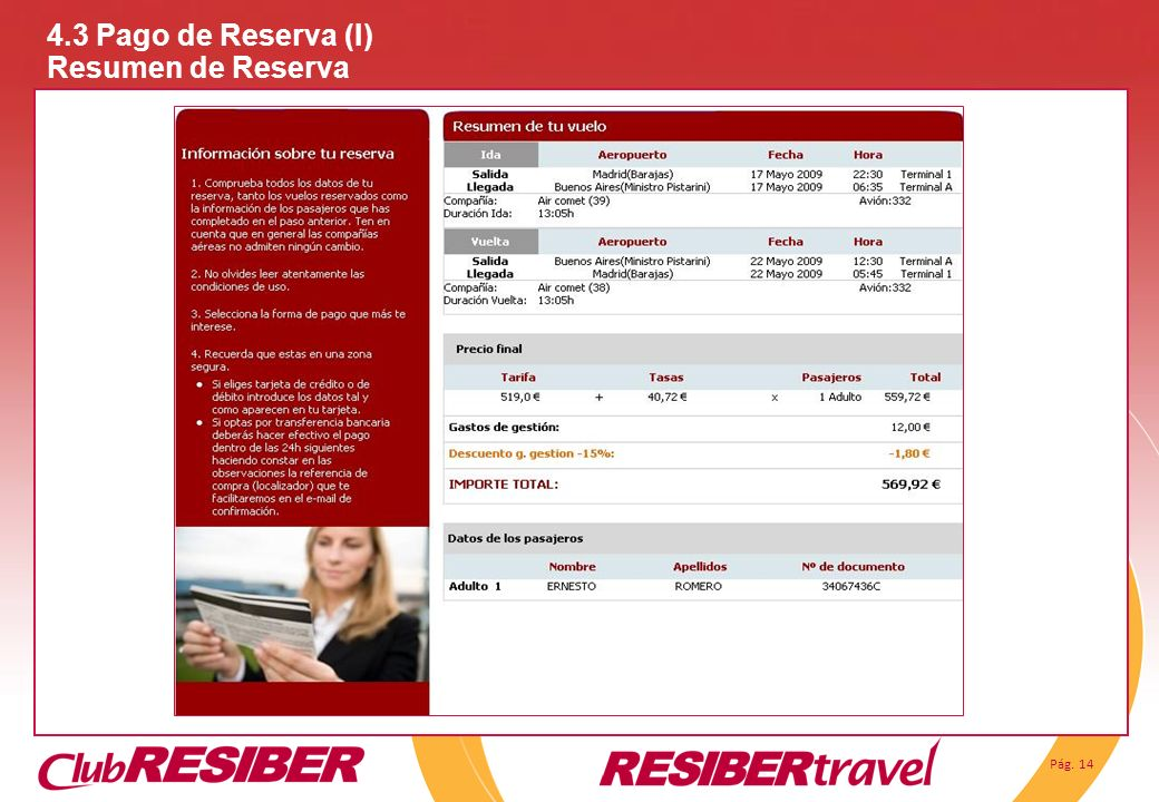 4.3 Pago de Reserva (I) Resumen de Reserva