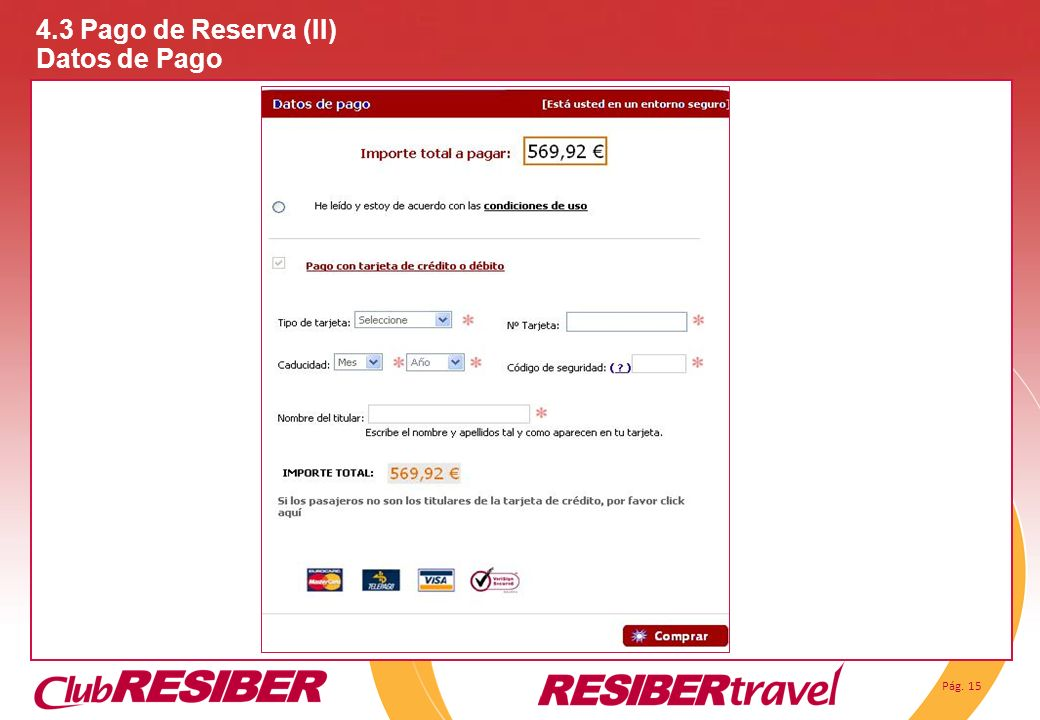 4.3 Pago de Reserva (II) Datos de Pago