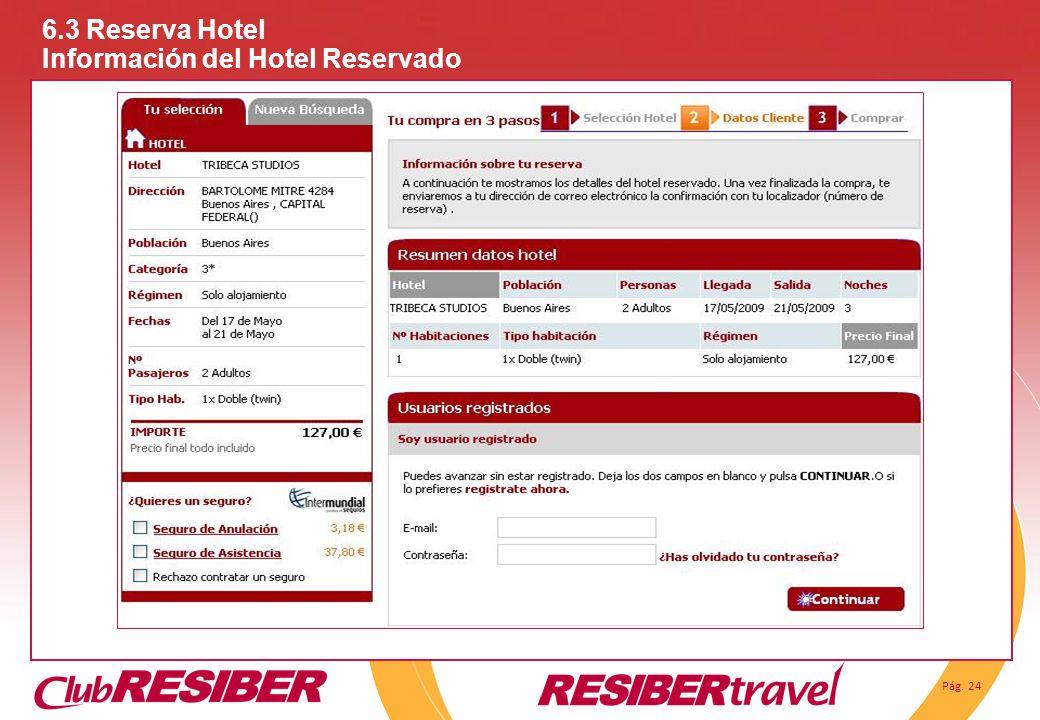6.3 Reserva Hotel Información del Hotel Reservado