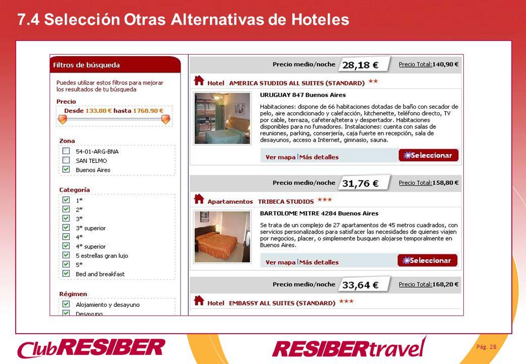 7.4 Selección Otras Alternativas de Hoteles