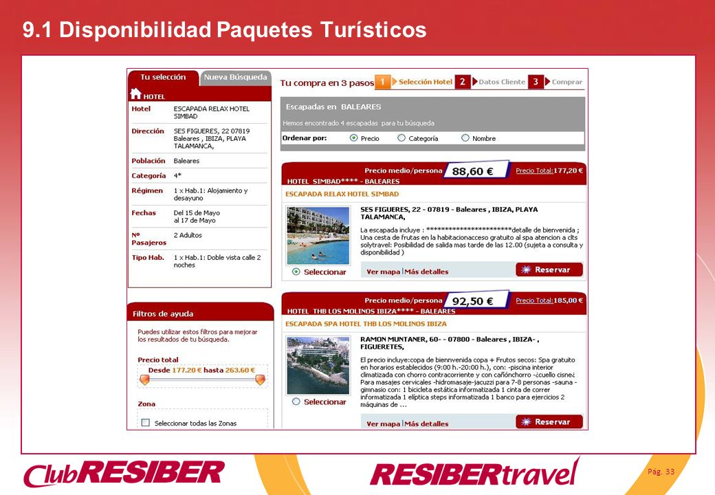 9.1 Disponibilidad Paquetes Turísticos