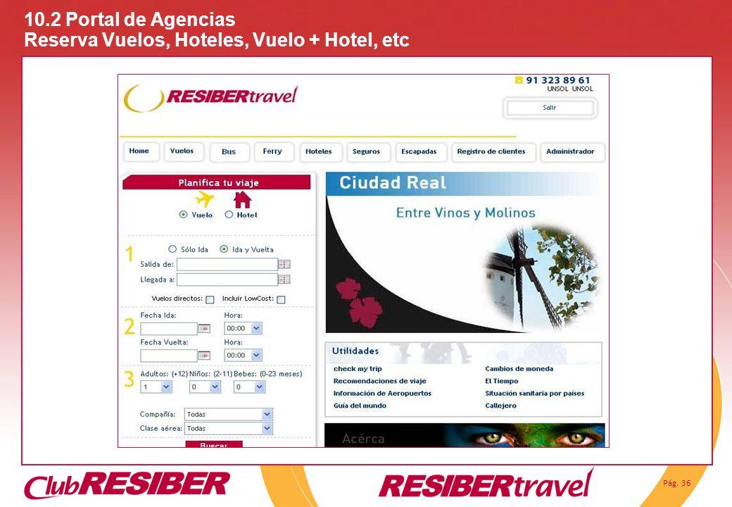 10.2 Portal de Agencias Reserva Vuelos, Hoteles, Vuelo + Hotel, etc
