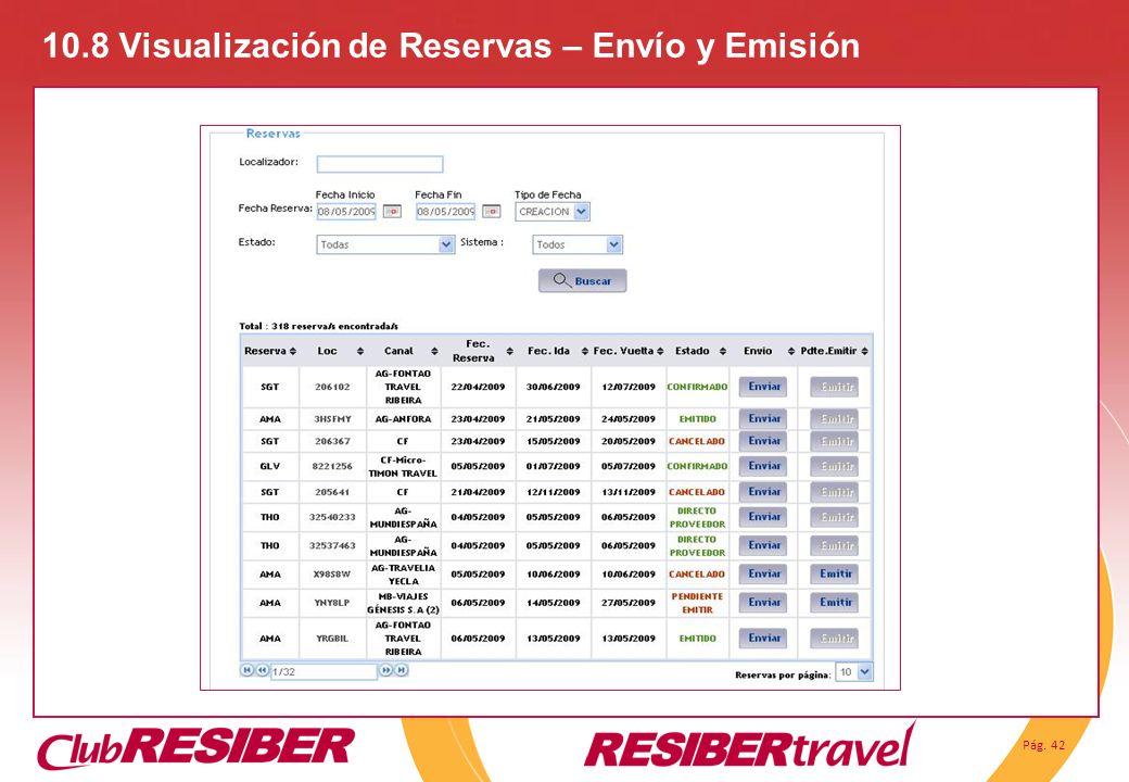10.8 Visualización de Reservas – Envío y Emisión