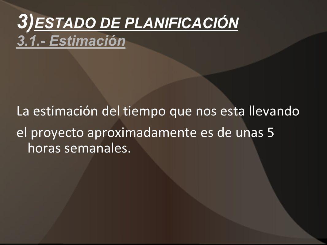 3)ESTADO DE PLANIFICACIÓN 3.1.- Estimación