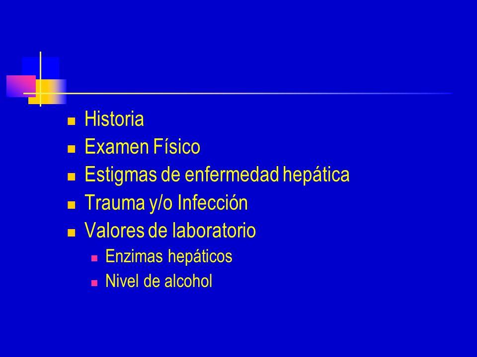 Estigmas de enfermedad hepática Trauma y/o Infección