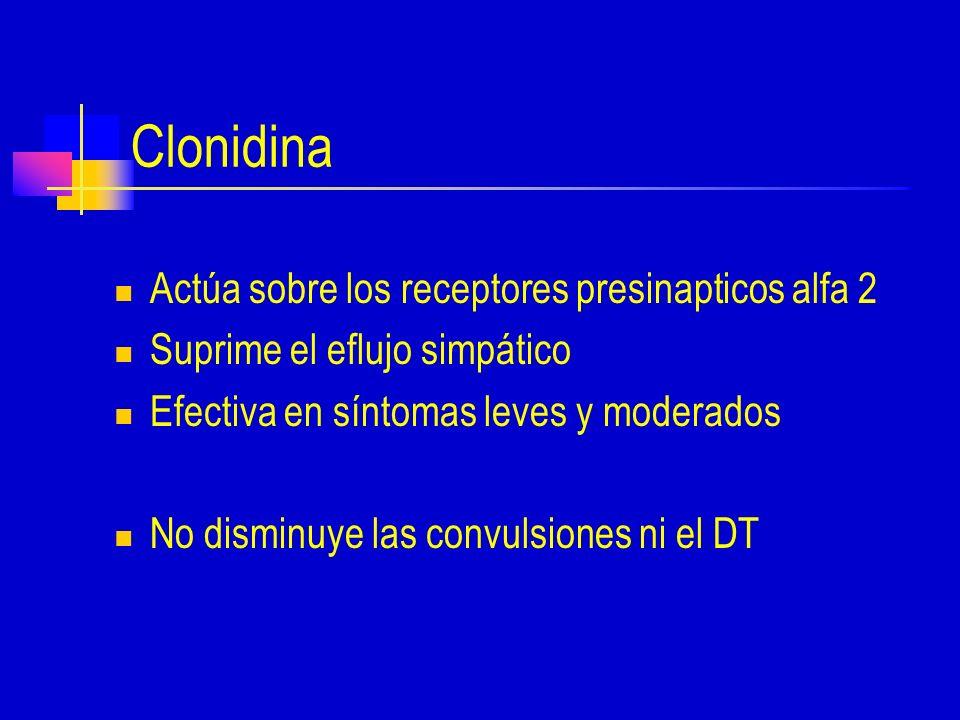 Clonidina Actúa sobre los receptores presinapticos alfa 2