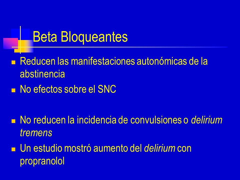 Beta Bloqueantes Reducen las manifestaciones autonómicas de la abstinencia. No efectos sobre el SNC.