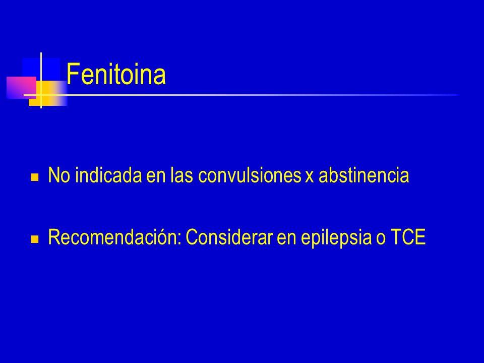 Fenitoina No indicada en las convulsiones x abstinencia