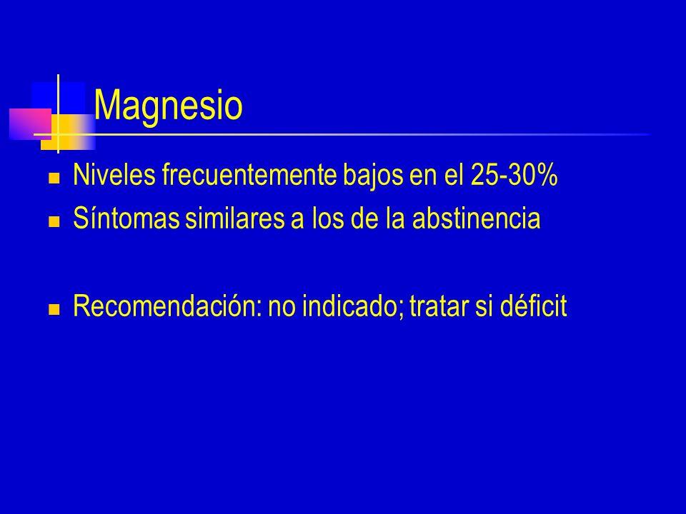 Magnesio Niveles frecuentemente bajos en el 25-30%