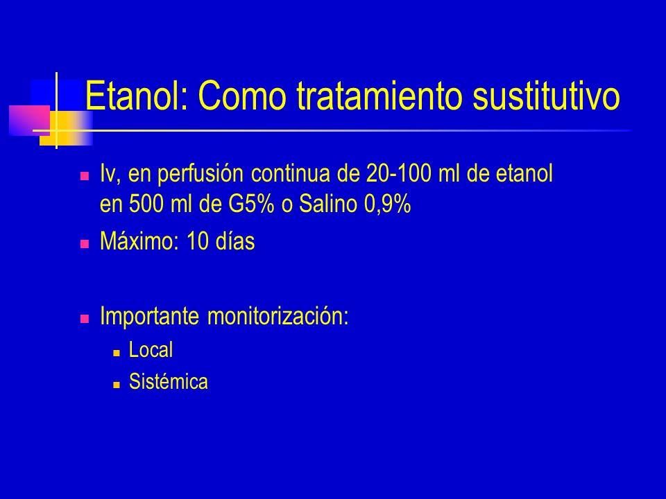 Etanol: Como tratamiento sustitutivo
