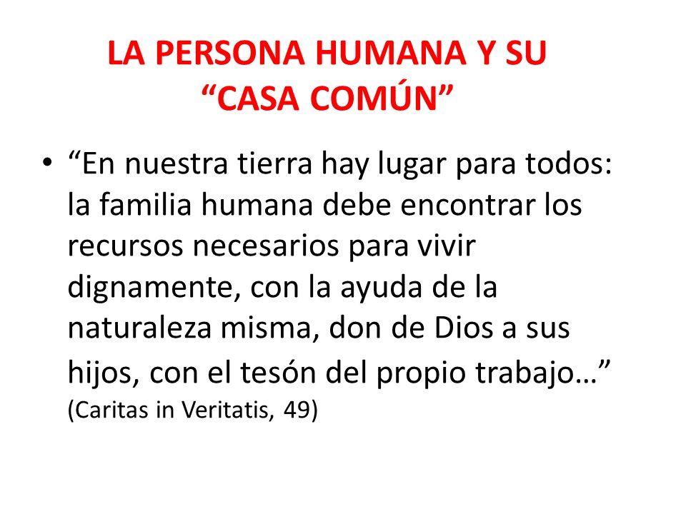 LA PERSONA HUMANA Y SU CASA COMÚN