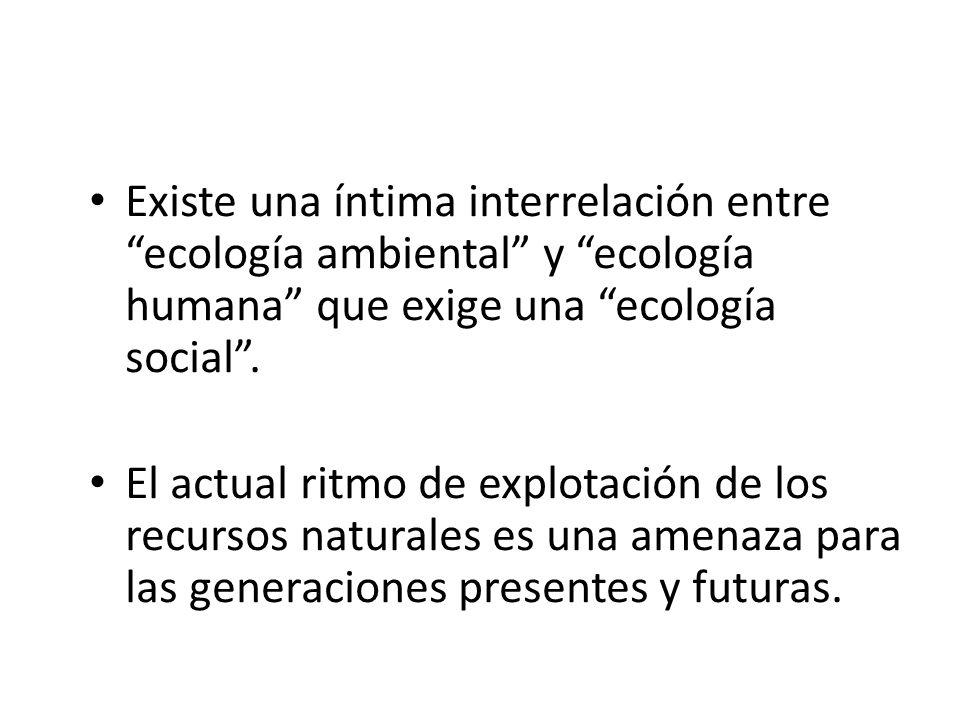 Existe una íntima interrelación entre ecología ambiental y ecología humana que exige una ecología social .