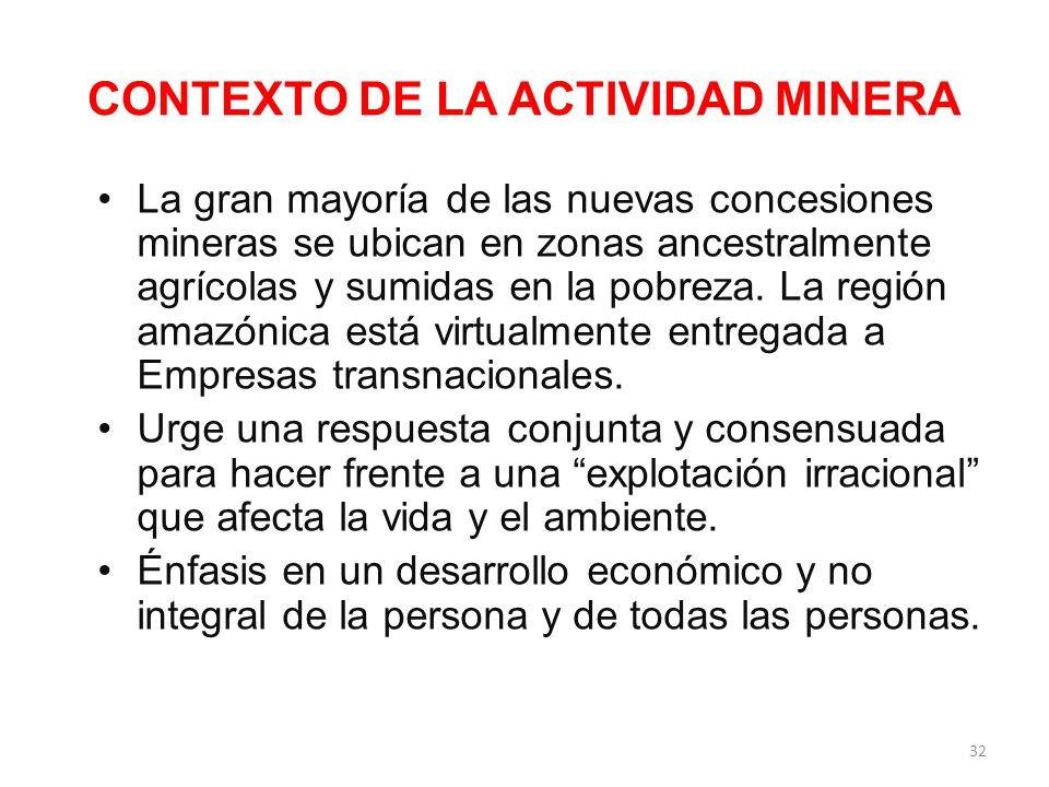 CONTEXTO DE LA ACTIVIDAD MINERA