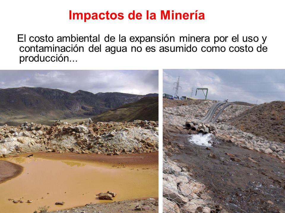 Impactos de la Minería El costo ambiental de la expansión minera por el uso y contaminación del agua no es asumido como costo de producción...