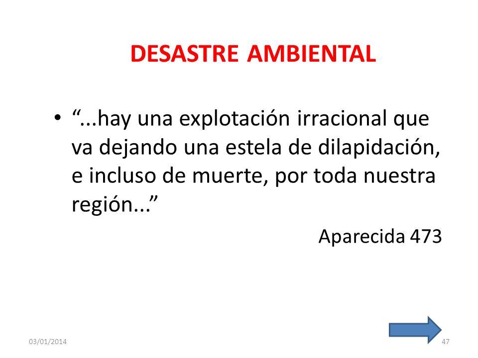 DESASTRE AMBIENTAL ...hay una explotación irracional que va dejando una estela de dilapidación, e incluso de muerte, por toda nuestra región...