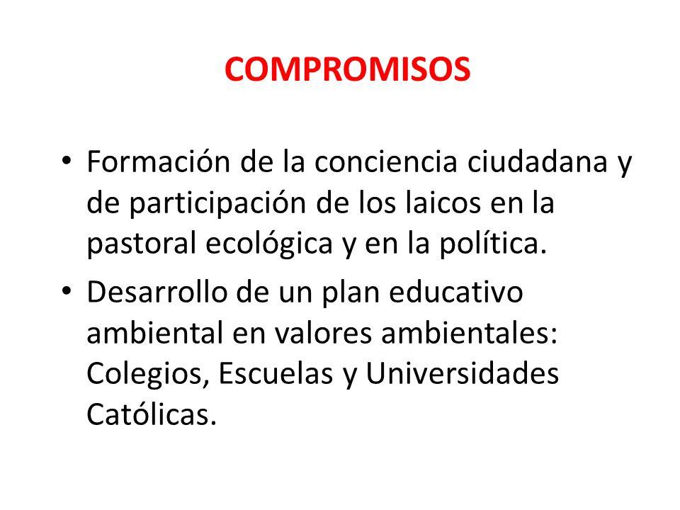 COMPROMISOSFormación de la conciencia ciudadana y de participación de los laicos en la pastoral ecológica y en la política.