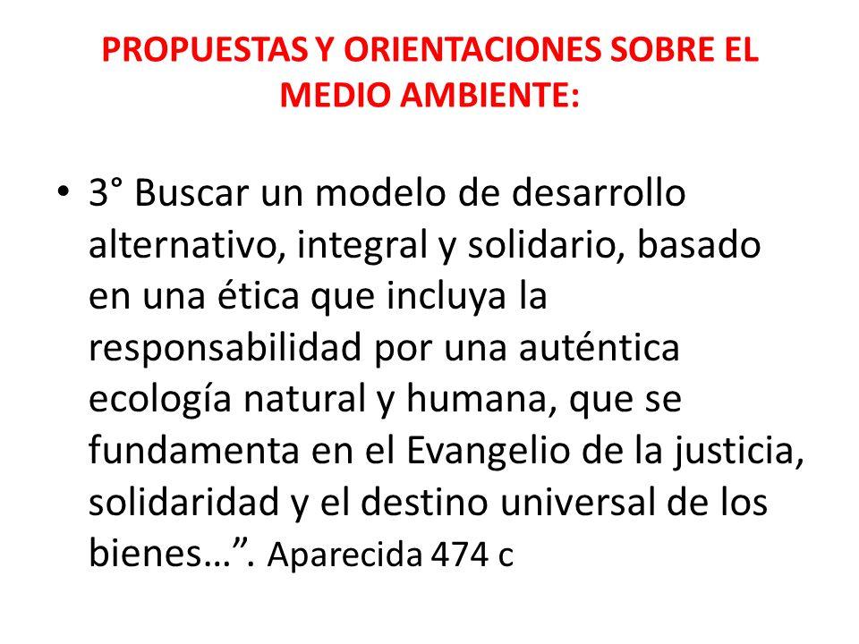 PROPUESTAS Y ORIENTACIONES SOBRE EL MEDIO AMBIENTE: