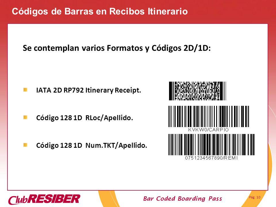 Códigos de Barras en Recibos Itinerario