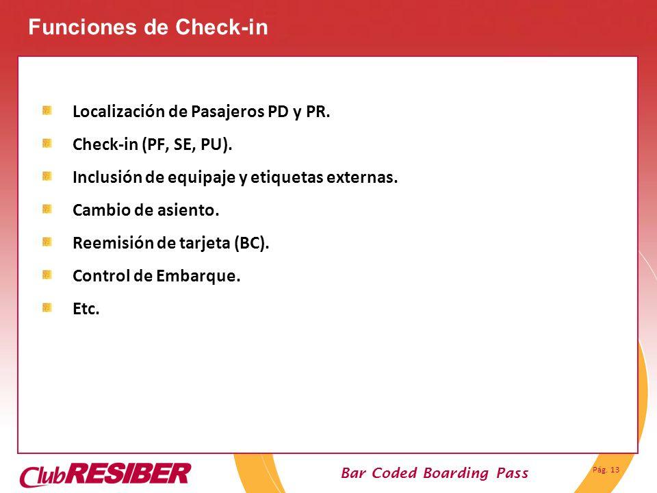Funciones de Check-in Localización de Pasajeros PD y PR.