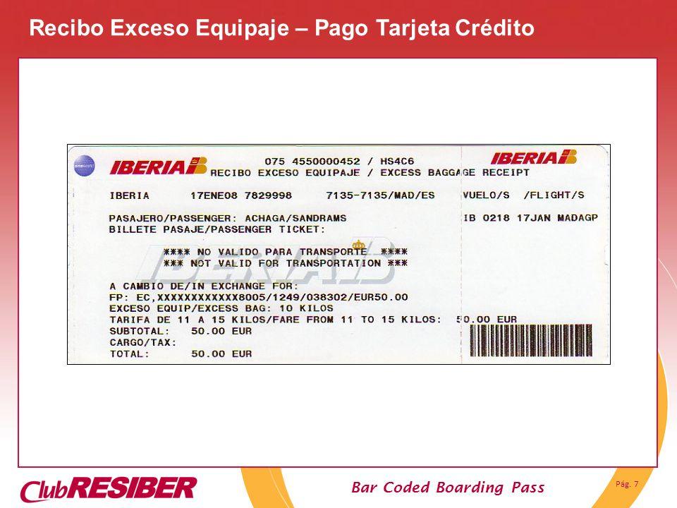 Recibo Exceso Equipaje – Pago Tarjeta Crédito