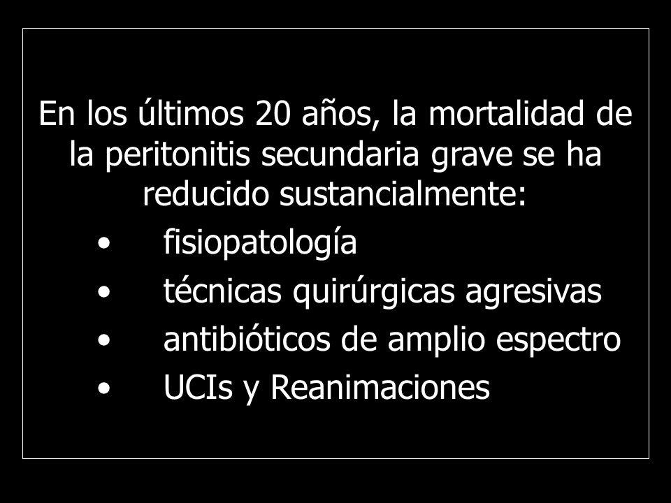En los últimos 20 años, la mortalidad de la peritonitis secundaria grave se ha reducido sustancialmente: