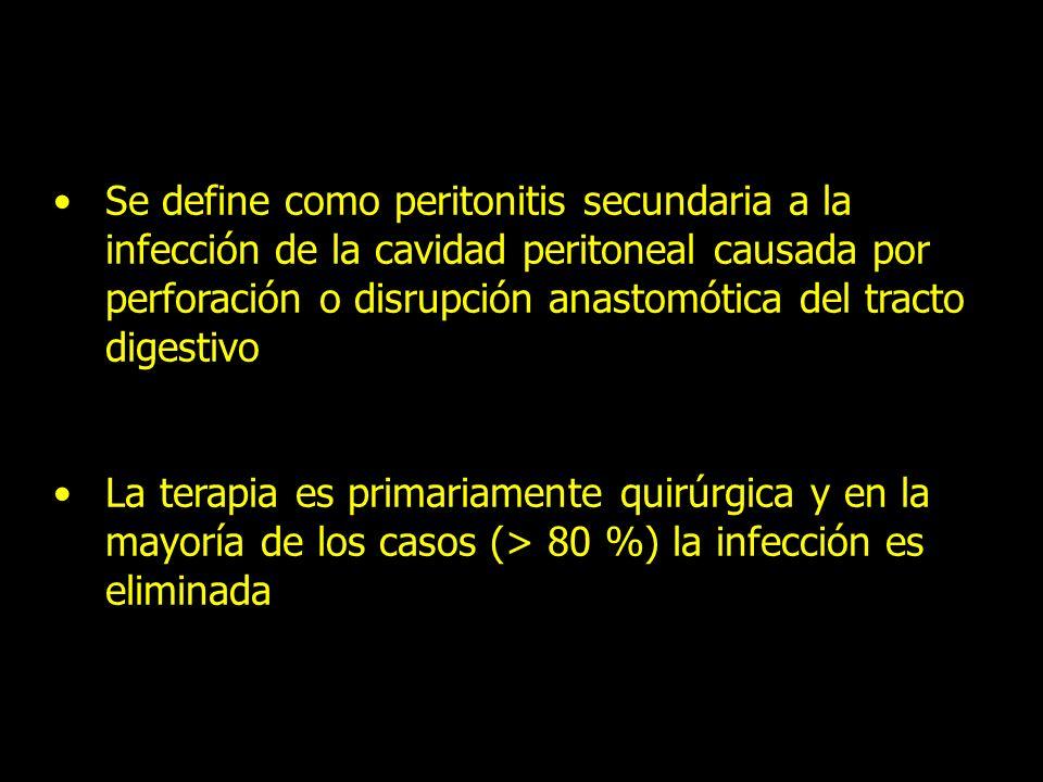 Se define como peritonitis secundaria a la infección de la cavidad peritoneal causada por perforación o disrupción anastomótica del tracto digestivo