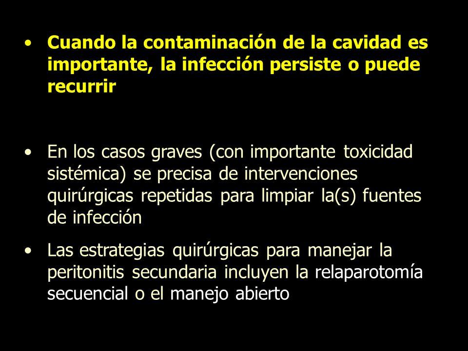 Cuando la contaminación de la cavidad es importante, la infección persiste o puede recurrir