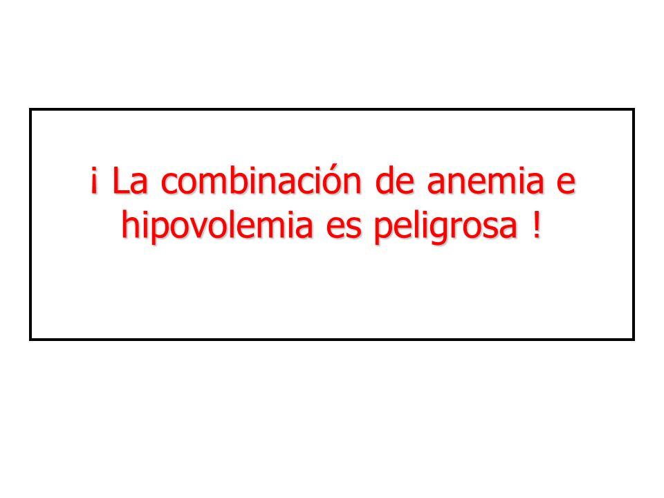 ¡ La combinación de anemia e hipovolemia es peligrosa !