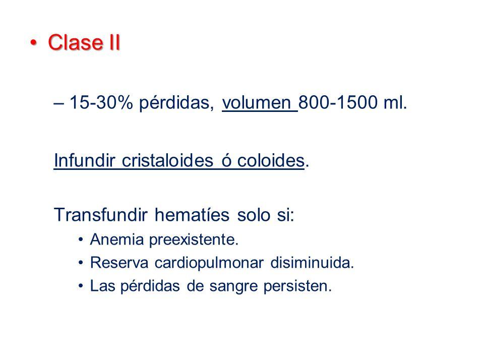 Clase II 15-30% pérdidas, volumen 800-1500 ml.