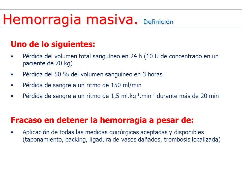 Hemorragia masiva. Definición