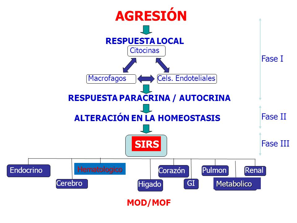 AGRESIÓN SIRS RESPUESTA LOCAL Fase I RESPUESTA PARACRINA / AUTOCRINA