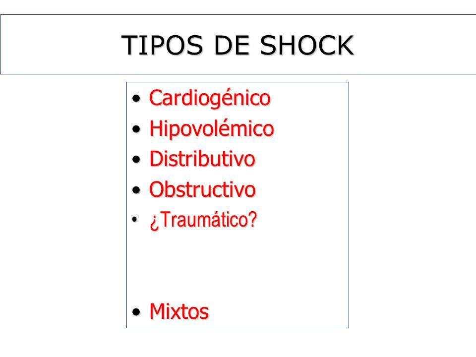 TIPOS DE SHOCK Cardiogénico Hipovolémico Distributivo Obstructivo