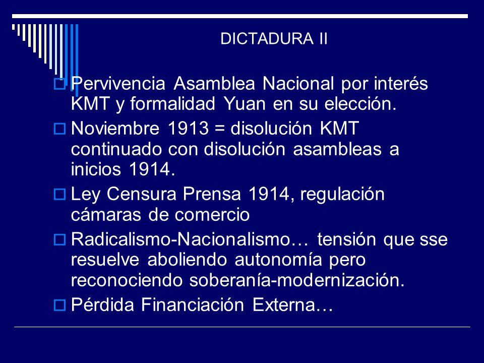 Ley Censura Prensa 1914, regulación cámaras de comercio