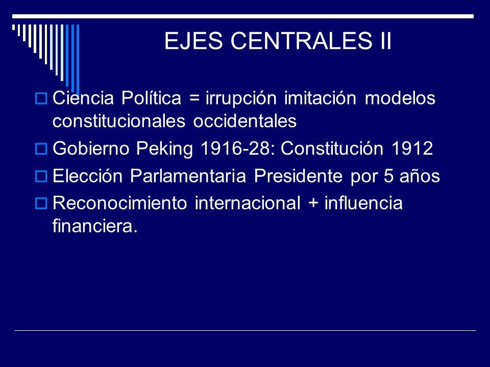 EJES CENTRALES II Ciencia Política = irrupción imitación modelos constitucionales occidentales. Gobierno Peking 1916-28: Constitución 1912.