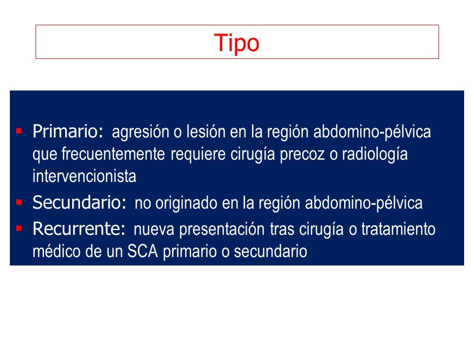 Tipo Primario: agresión o lesión en la región abdomino-pélvica que frecuentemente requiere cirugía precoz o radiología intervencionista.