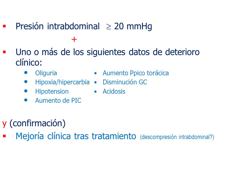 Presión intrabdominal  20 mmHg +