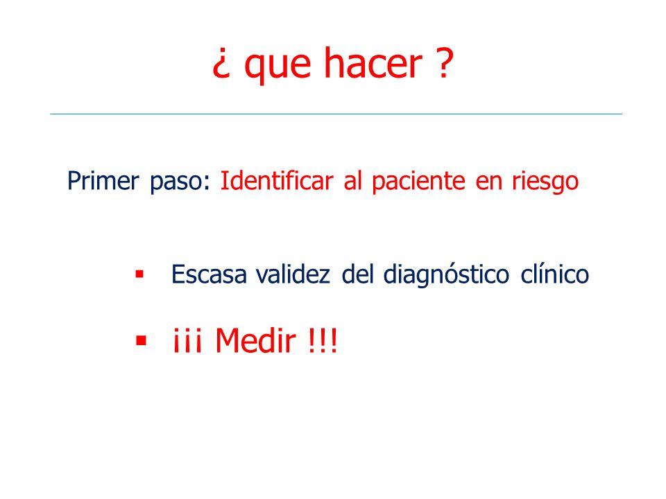 ¿ que hacer Primer paso: Identificar al paciente en riesgo. Escasa validez del diagnóstico clínico.