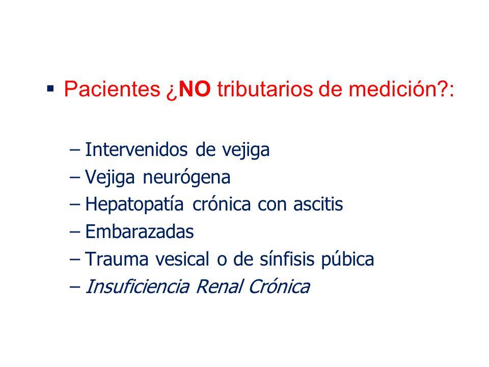 Pacientes ¿NO tributarios de medición :