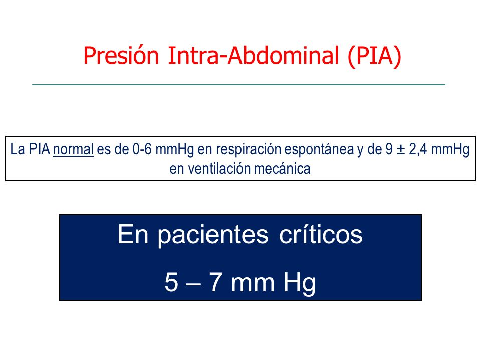 Presión Intra-Abdominal (PIA)