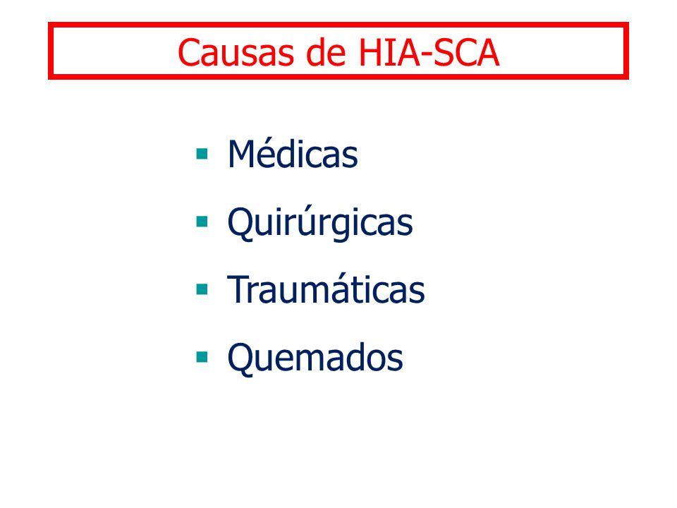 Causas de HIA-SCA Médicas Quirúrgicas Traumáticas Quemados