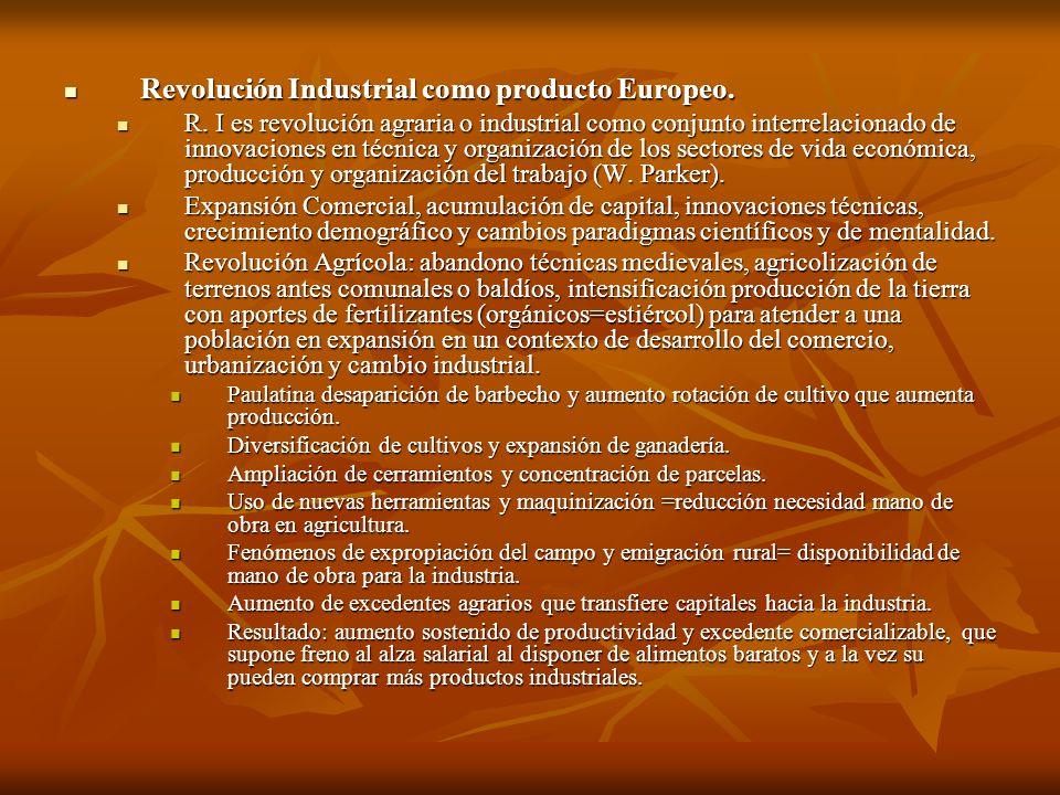 Revolución Industrial como producto Europeo.