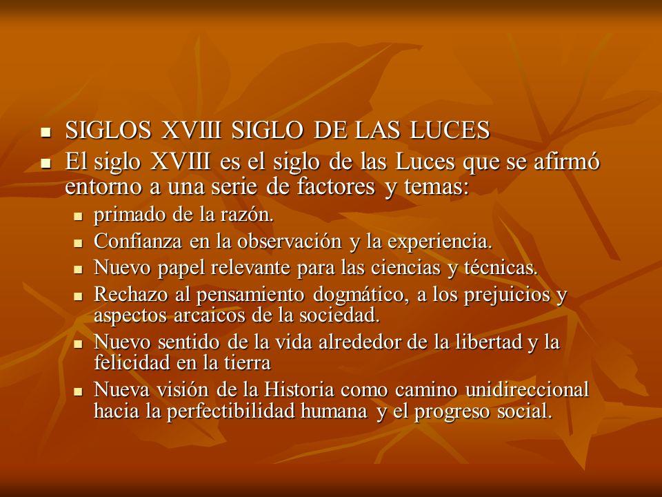 SIGLOS XVIII SIGLO DE LAS LUCES